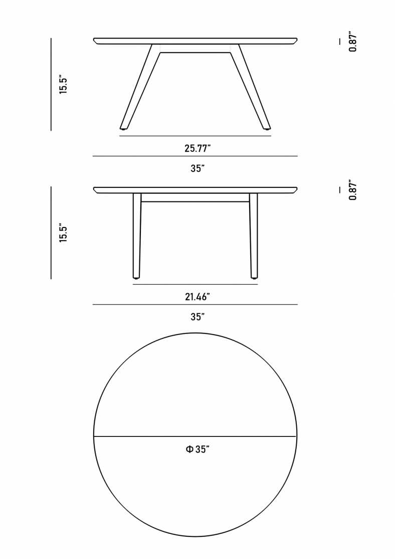 Dimensions for Dolf Round Coffee Table