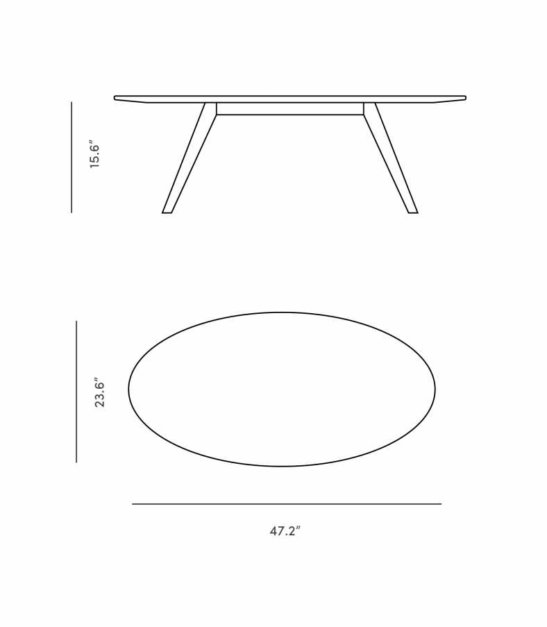 Dimensions for Dolf Oval Coffee Table