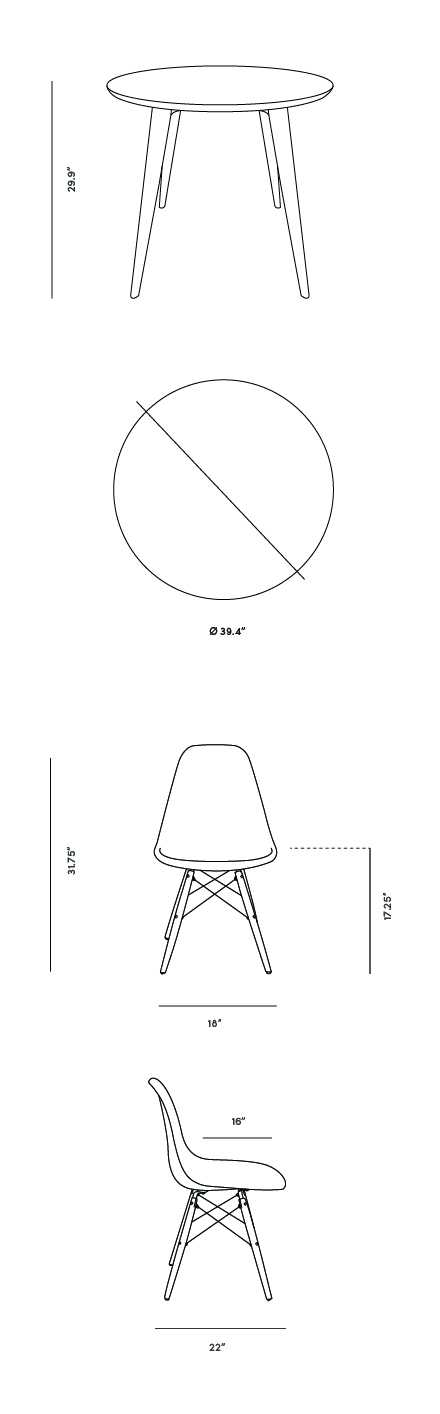 Dimensions for Dolf 5-Piece Dining Set with DSW Molded Plastic Side Chairs (White)
