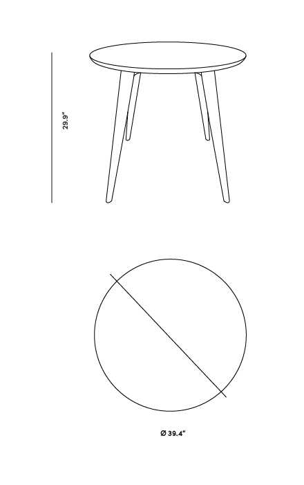 Dimensions for Dolf Dining Table