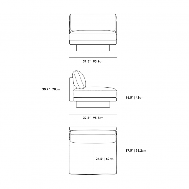 Dimensions for Dresden Armless