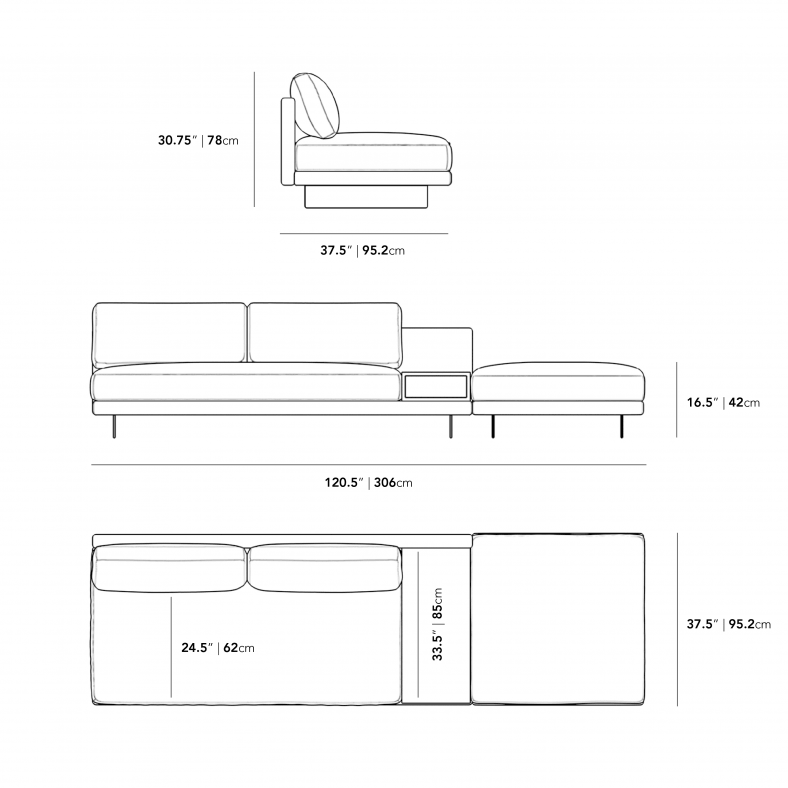 Dimensions for Dresden Open End Sofa with Side Table