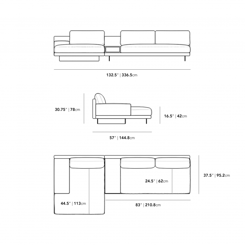 Dimensions for Dresden Sectional Sofa