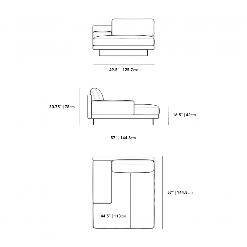 Dimensions for Dresden Right Chaise with Armrest