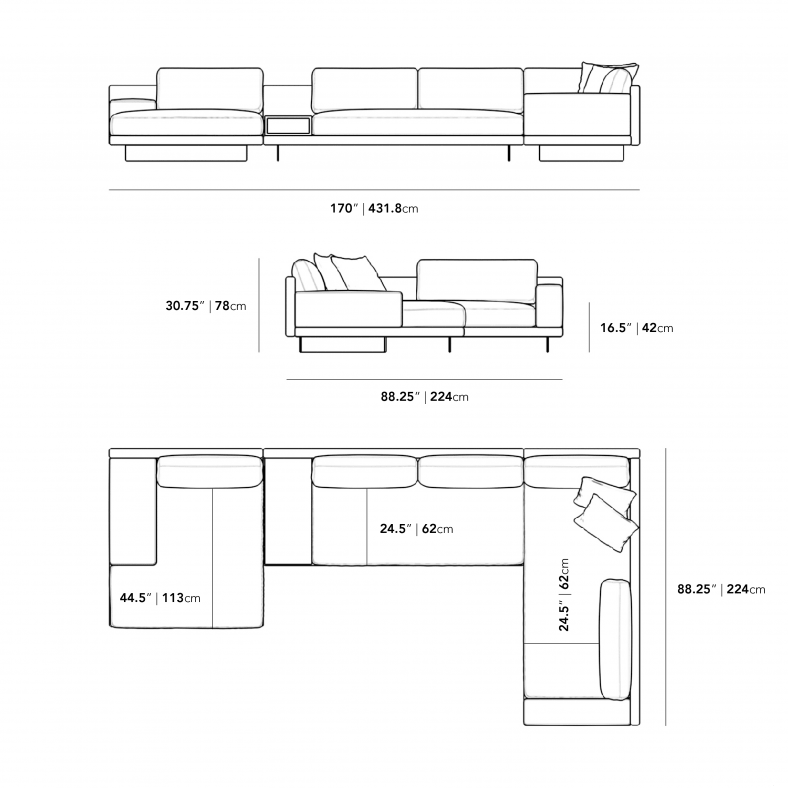 Dimensions for Dresden Outdoor Modular Sectional