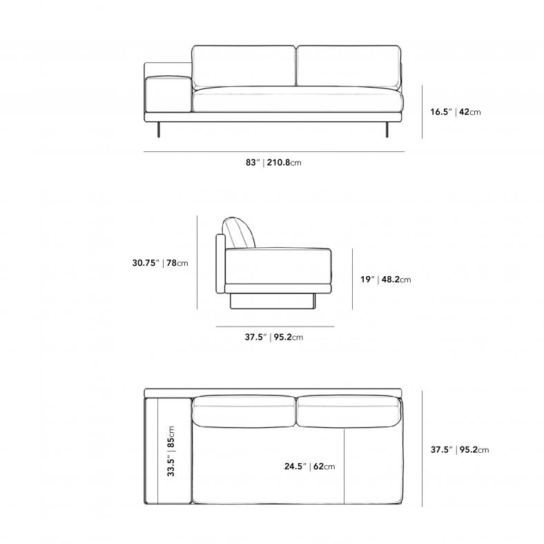 Dimensions for Dresden Armless Sofa with Armrest