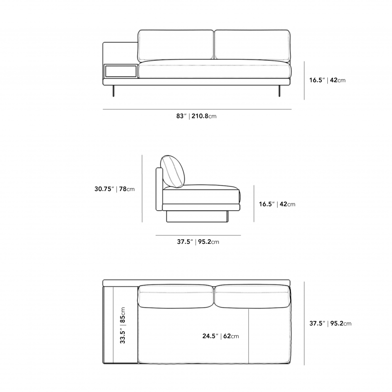 Dimensions for Dresden Outdoor Armless Sofa with Side Table