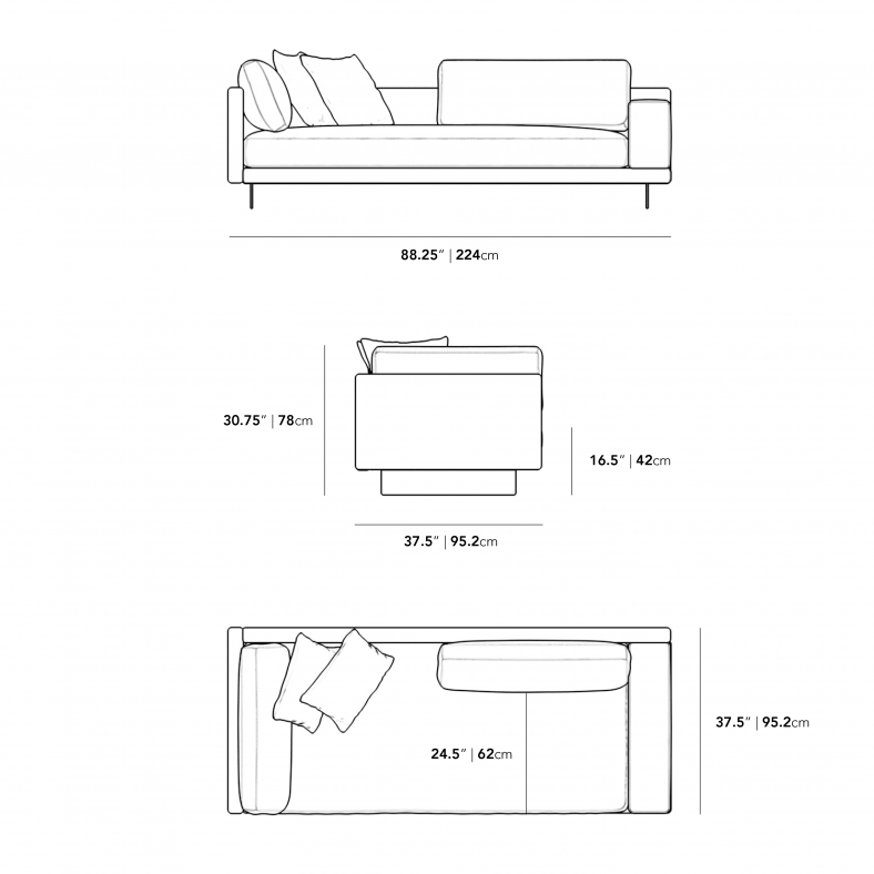 Dimensions for Dresden Outdoor Right Arm Sofa
