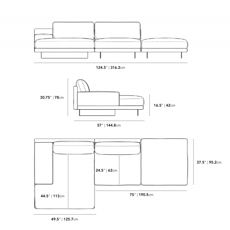 Dimensions for Dresden Sectional Sofa - Compact