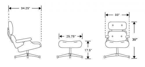 Dimensions for Rove Lounge Chair with Ottoman