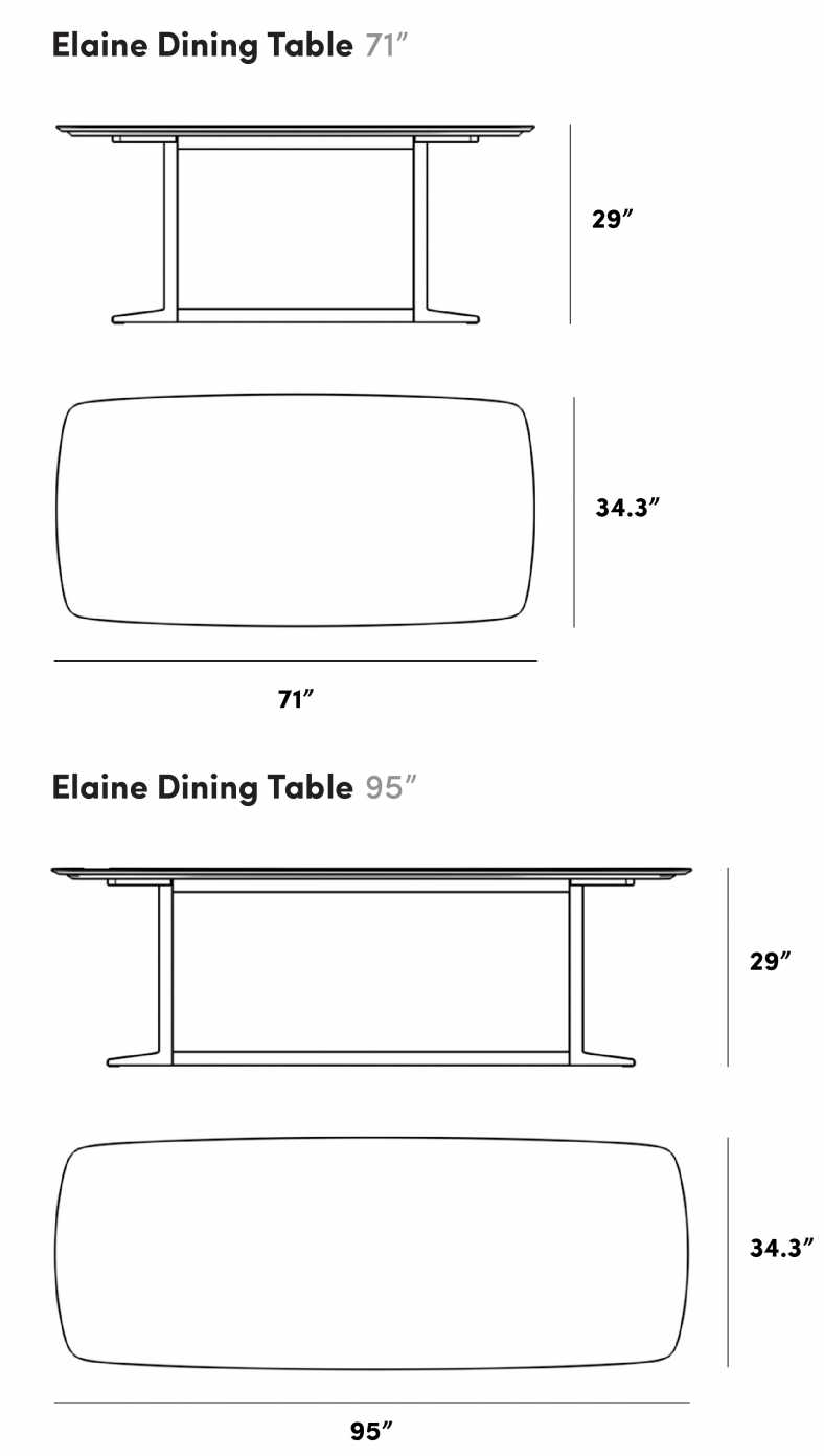 Dimensions for Elaine Dining Table