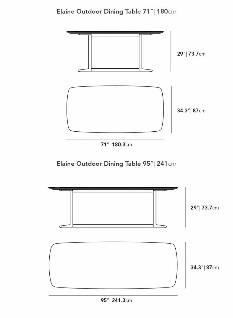 Dimensions for Elaine Outdoor Dining Table