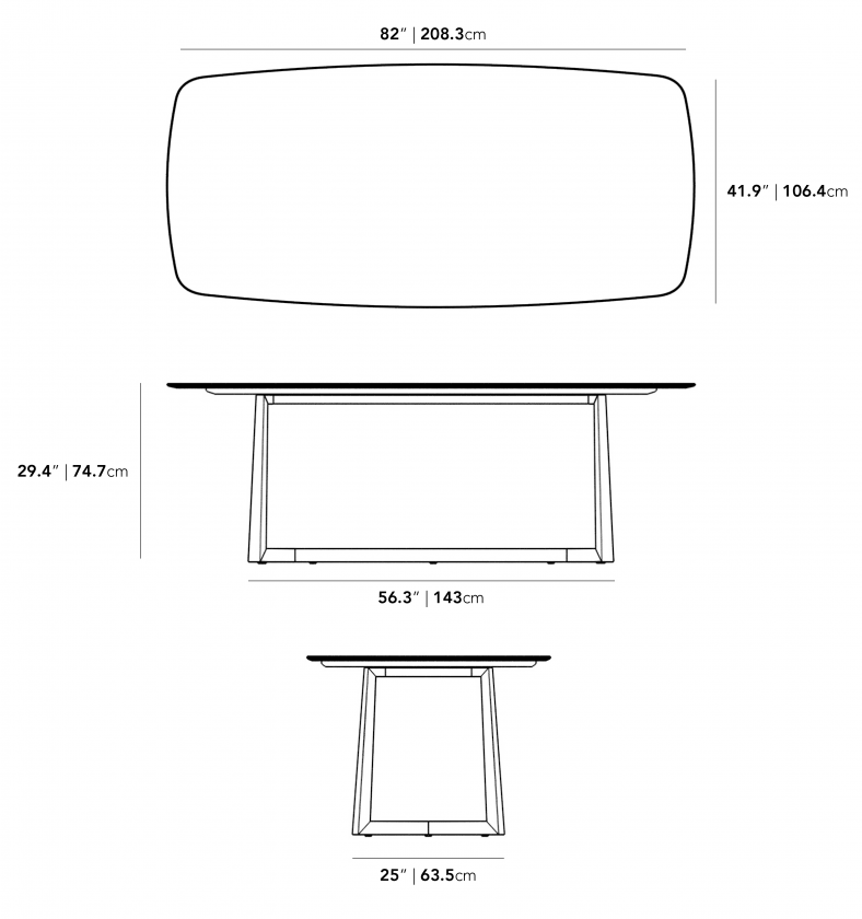 Dimensions for Eleanor Dining Table