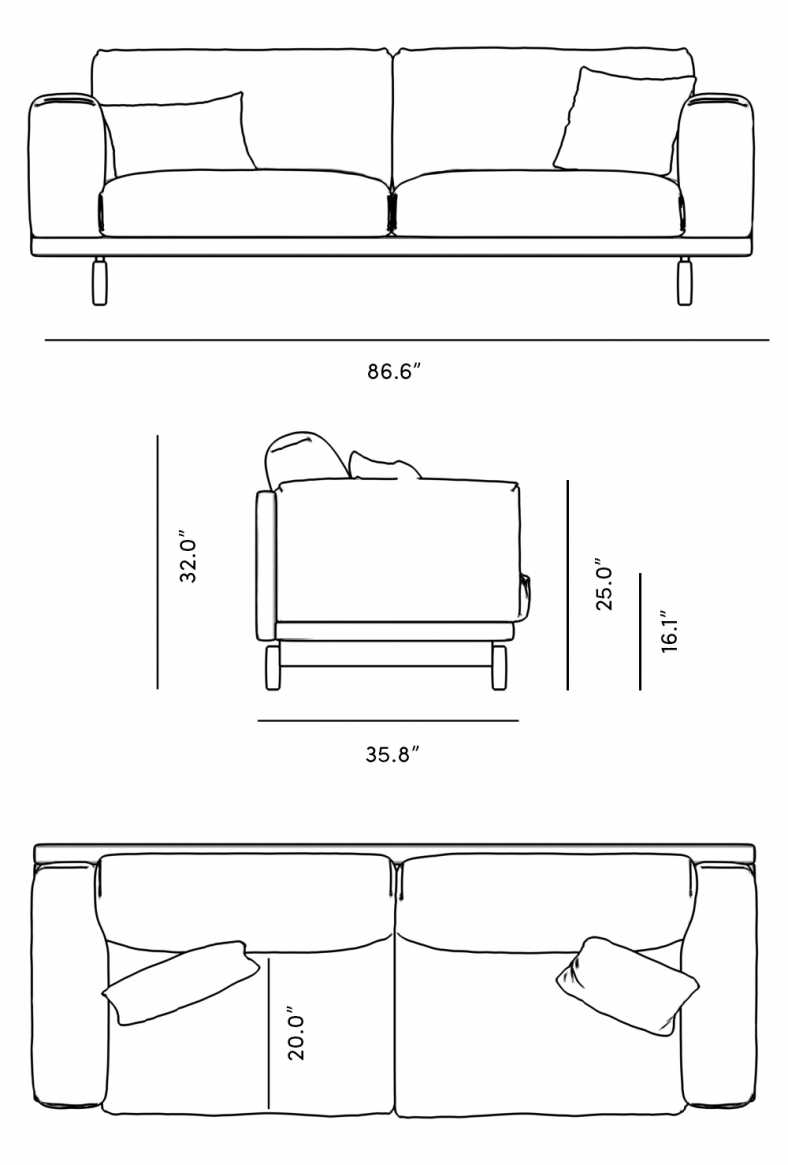 Dimensions for Elliott Sofa