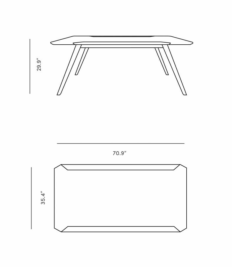 Dimensions for Erik Dining Table