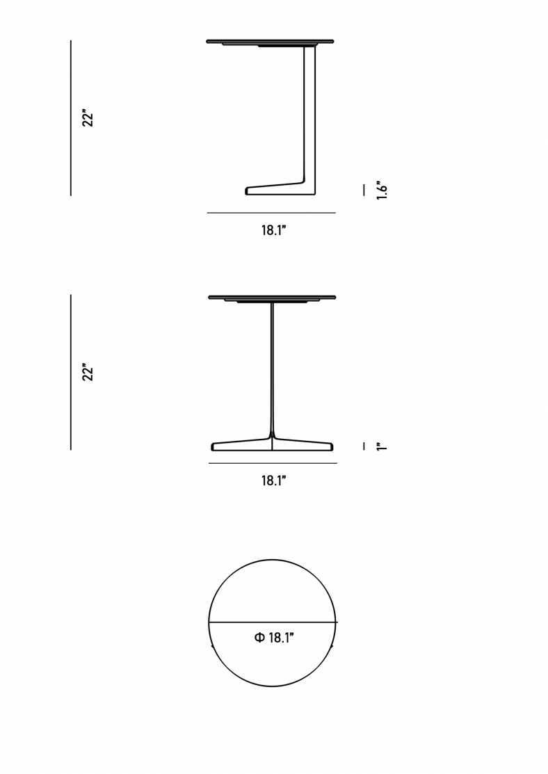 Dimensions for Evelyn Outdoor End Table - Round