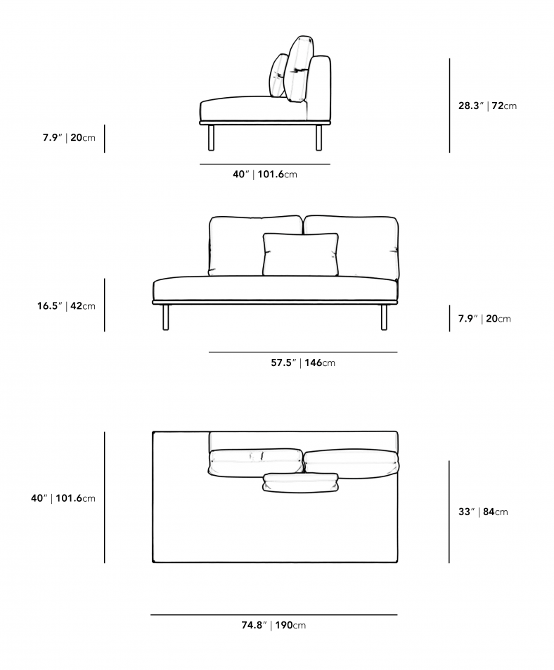 Dimensions for Evelyn Outdoor Armless Open Left
