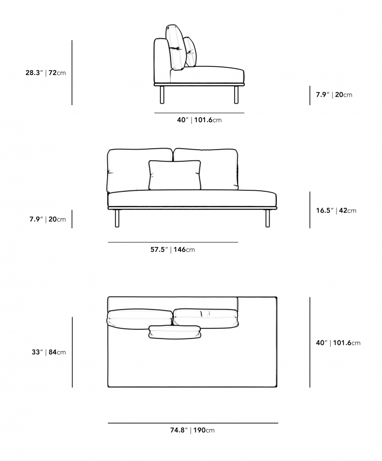 Dimensions for Evelyn Outdoor Armless Open Right