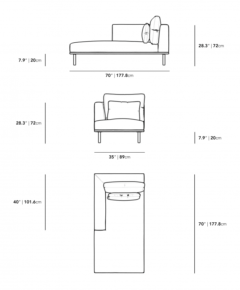 Dimensions for Evelyn Outdoor Left Arm Chaise