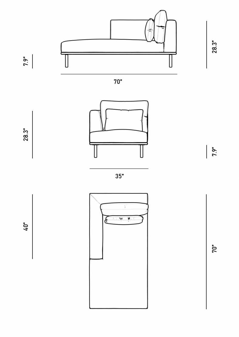 Dimensions for Evelyn Indoor Left Arm Chaise