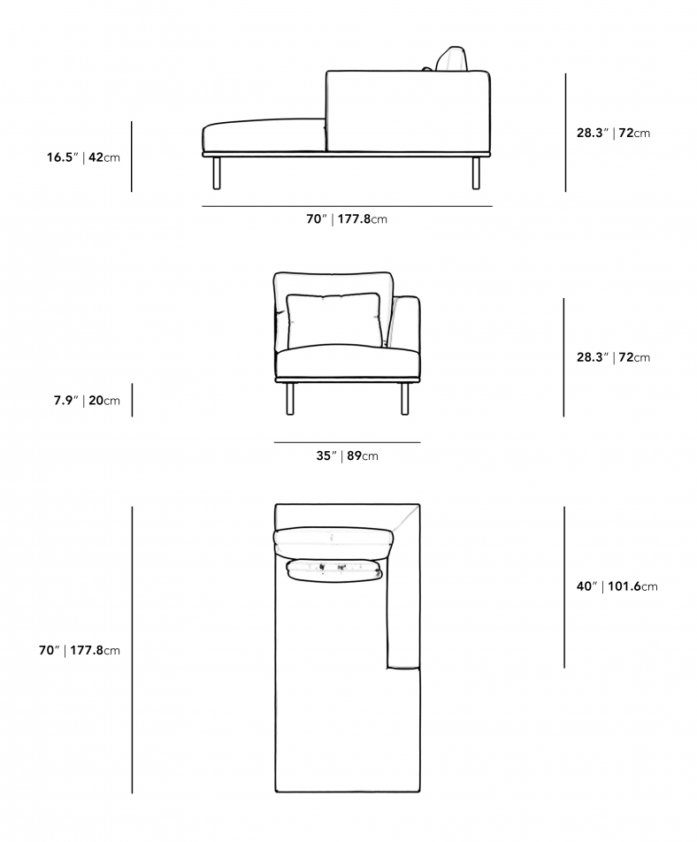 Dimensions for Evelyn Outdoor Right Arm Chaise