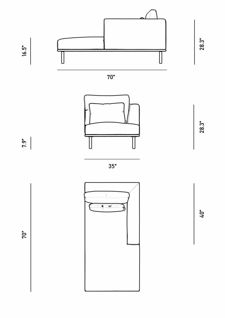 Dimensions for Evelyn Right Arm Chaise