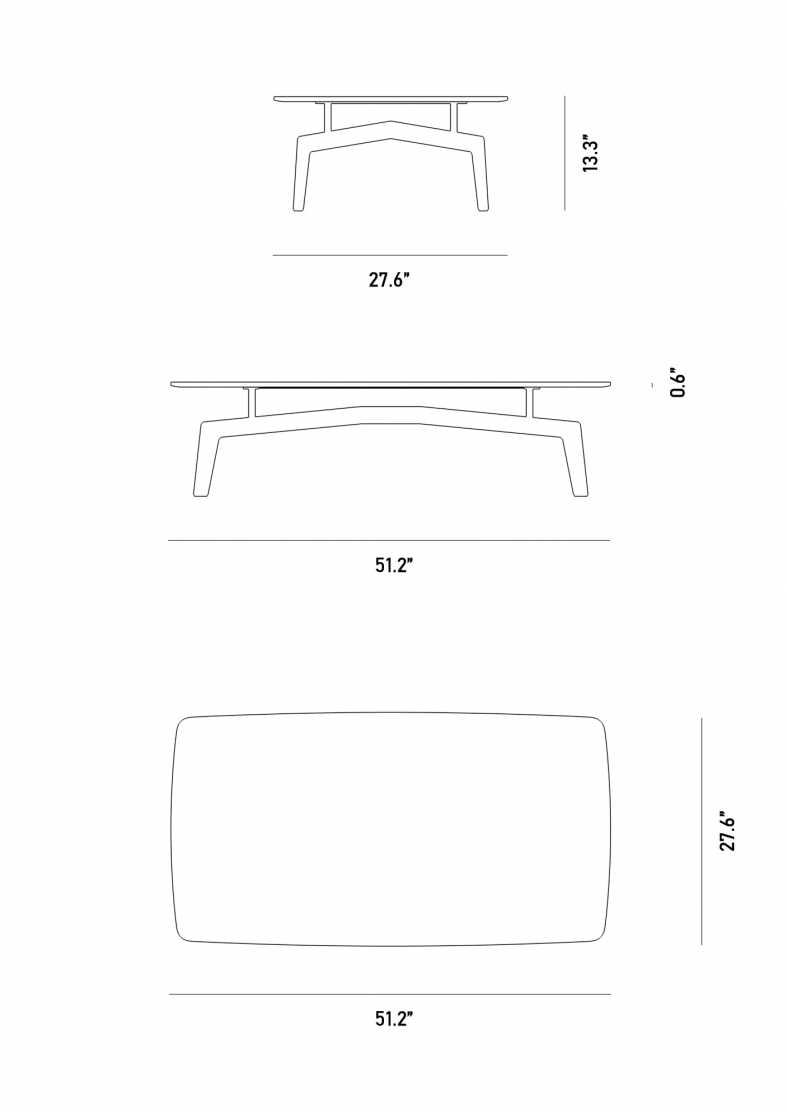 Dimensions for Evelyn Outdoor Coffee Table - Rectangular