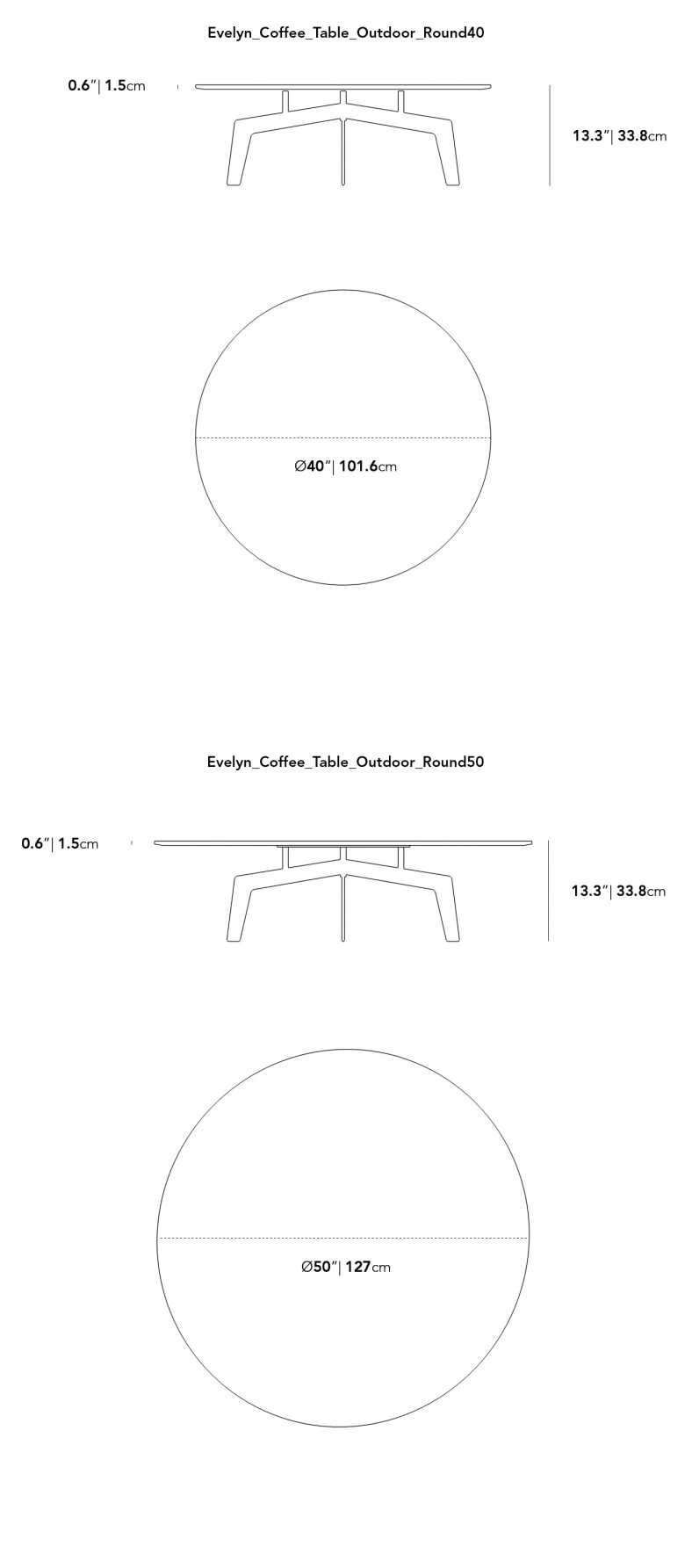 Dimensions for Evelyn Outdoor Coffee Table - Round