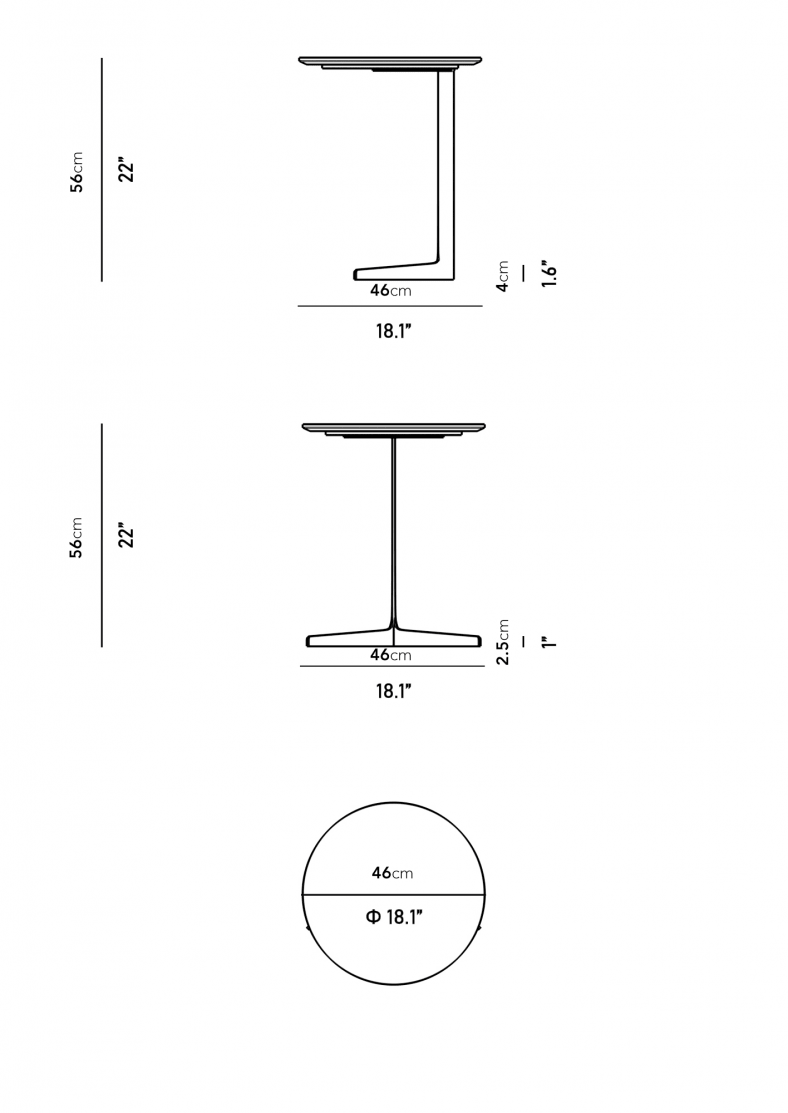 Dimensions for Evelyn End Table - Round