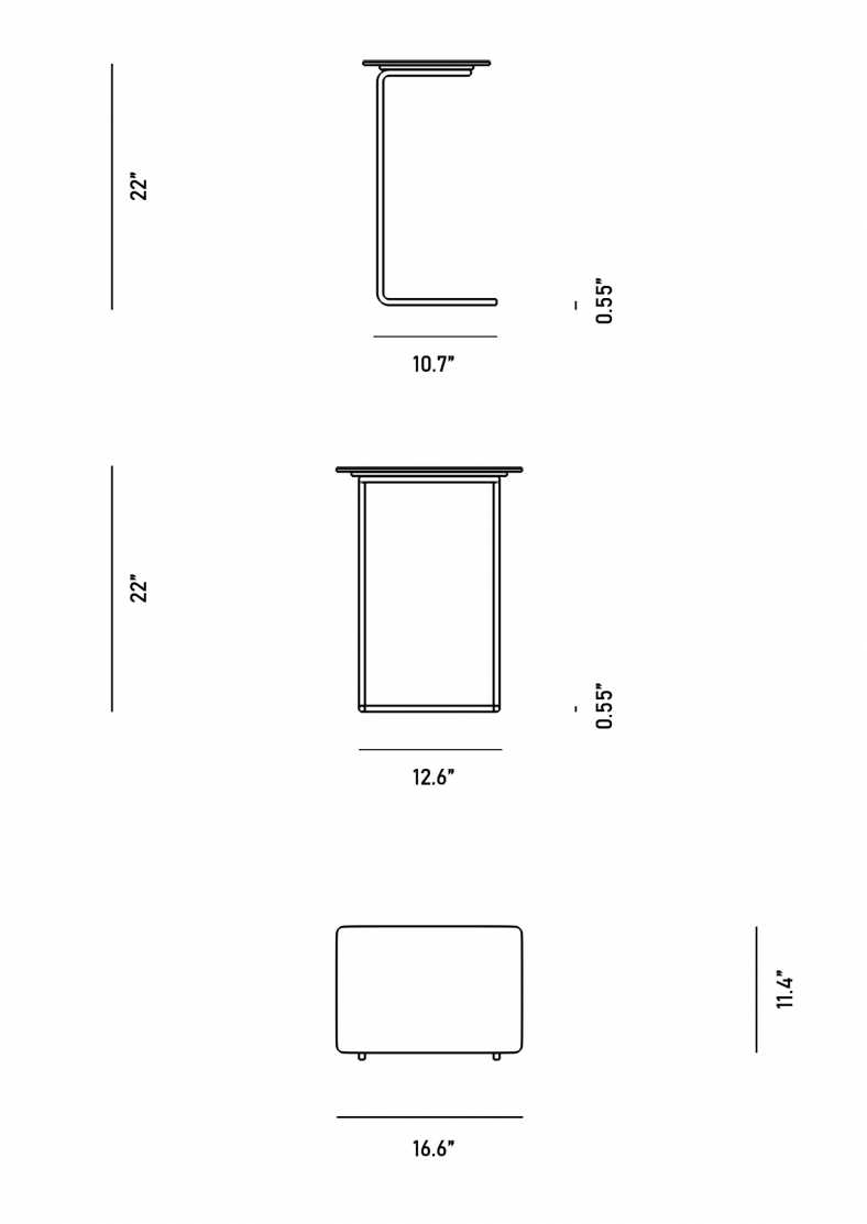 Dimensions for Evelyn Outdoor End Table - Rectangular