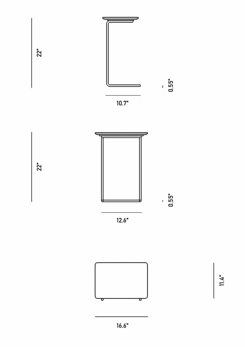 Dimensions for Evelyn End Table - Rectangular