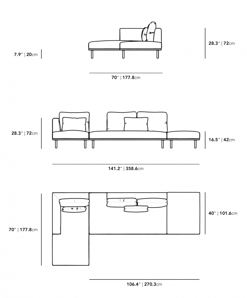 Dimensions for Evelyn Outdoor Modular Sectional