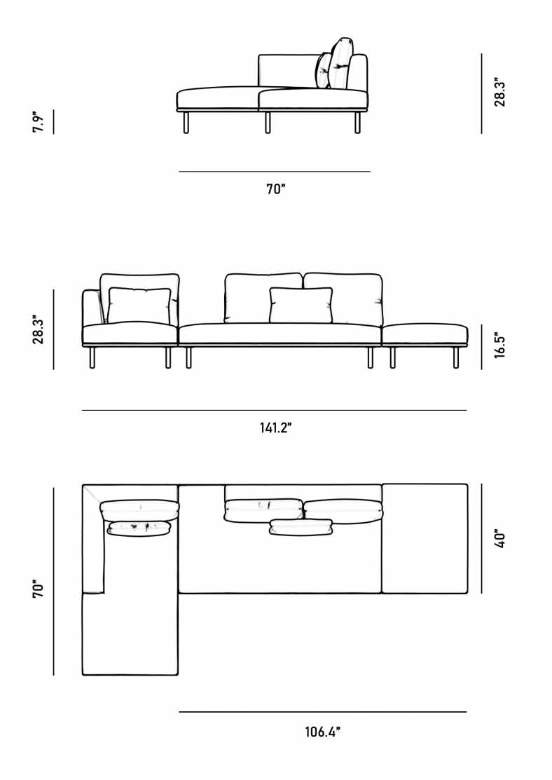 Dimensions for Evelyn Indoor Modular Sectional