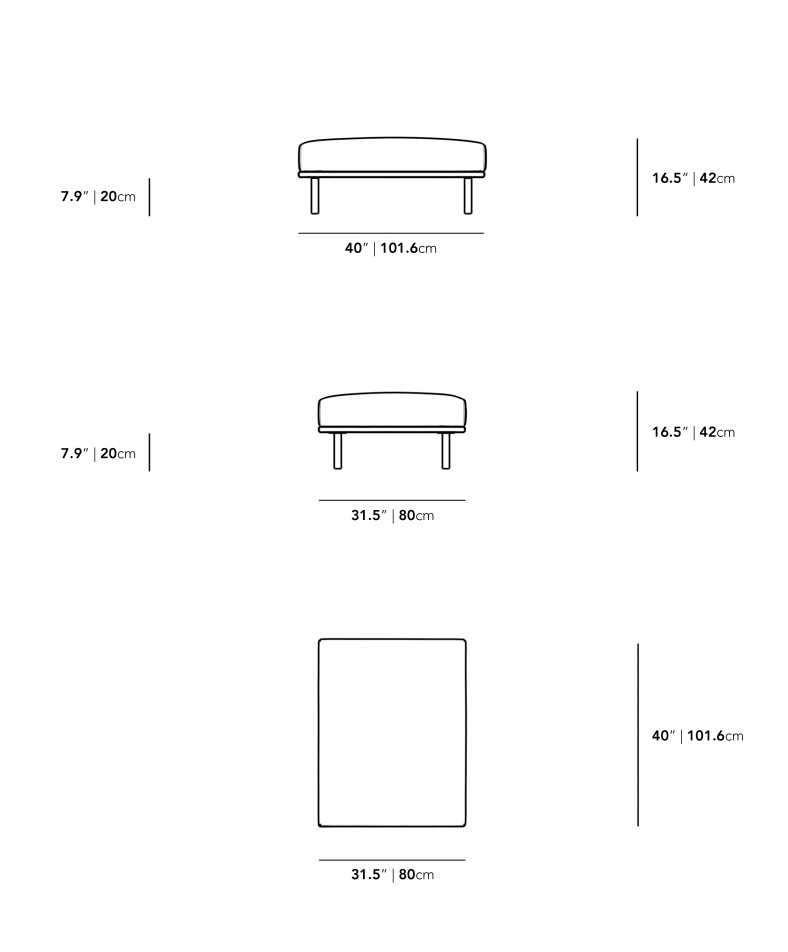 Dimensions for Evelyn Outdoor Ottoman