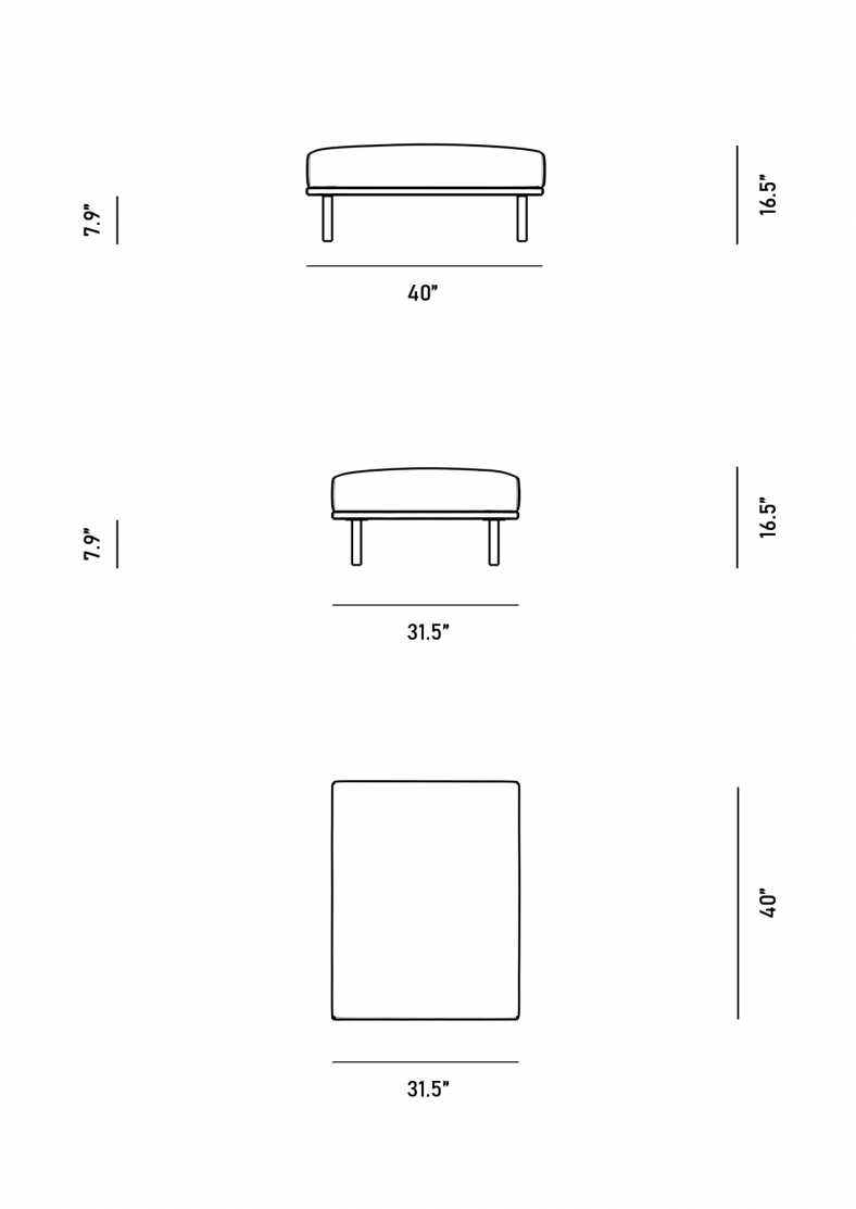 Dimensions for Evelyn Indoor Ottoman