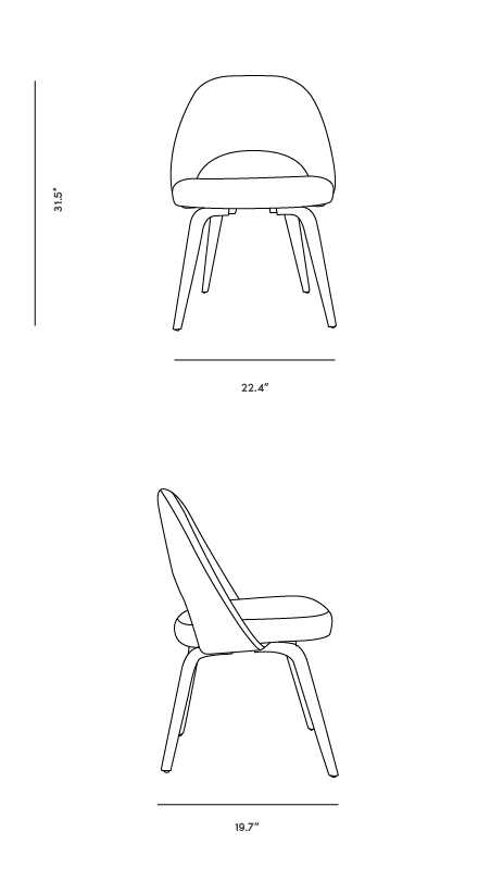 Dimensions for Executive Side Chair - Wood Legs