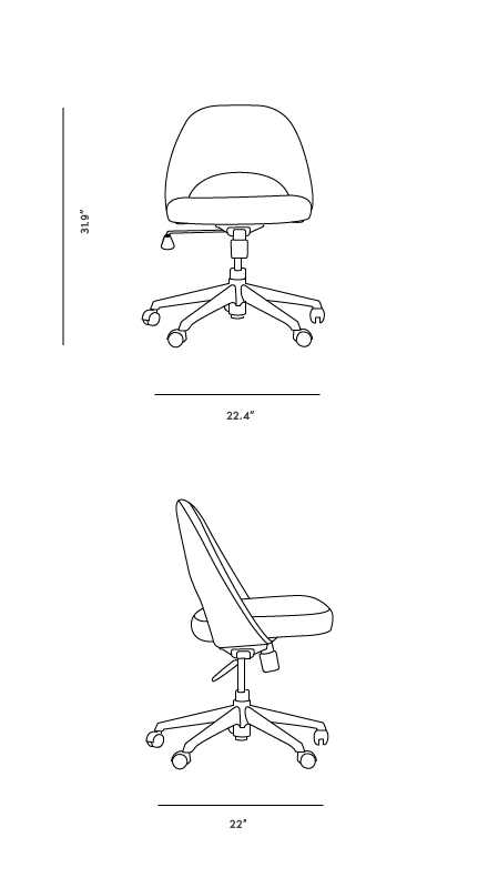 Dimensions for Executive Task Side Chair