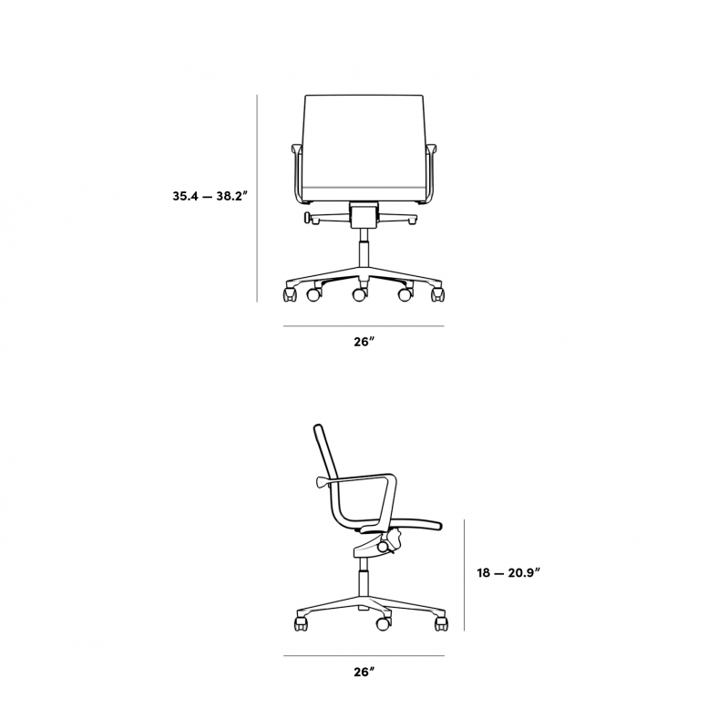 Dimensions for Executive Office Chair - Low Back