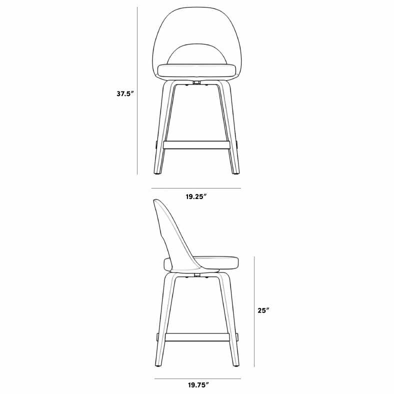 Dimensions for Executive Counter Stool - Wood Legs