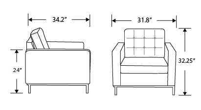 Dimensions for Florence Armchair