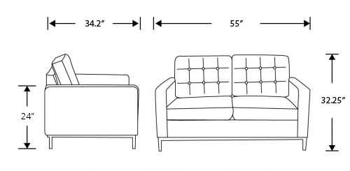 Dimensions for Florence Loveseat