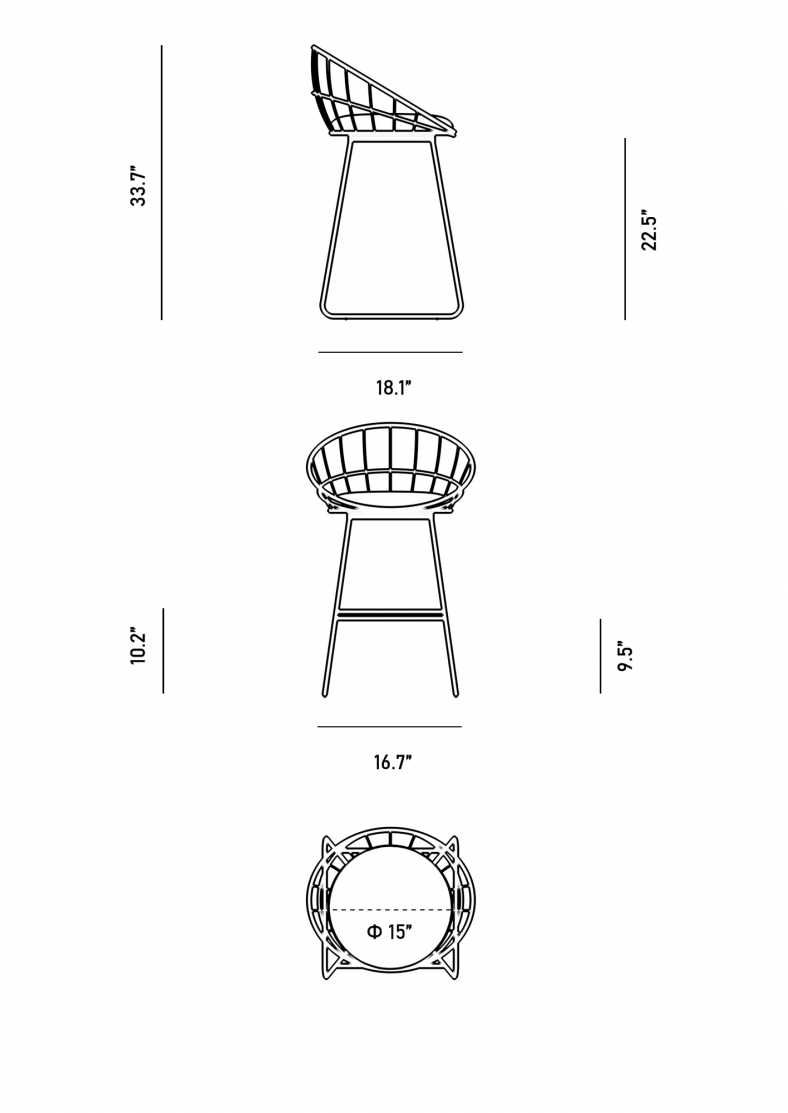 Dimensions for Fiore Counter Stool