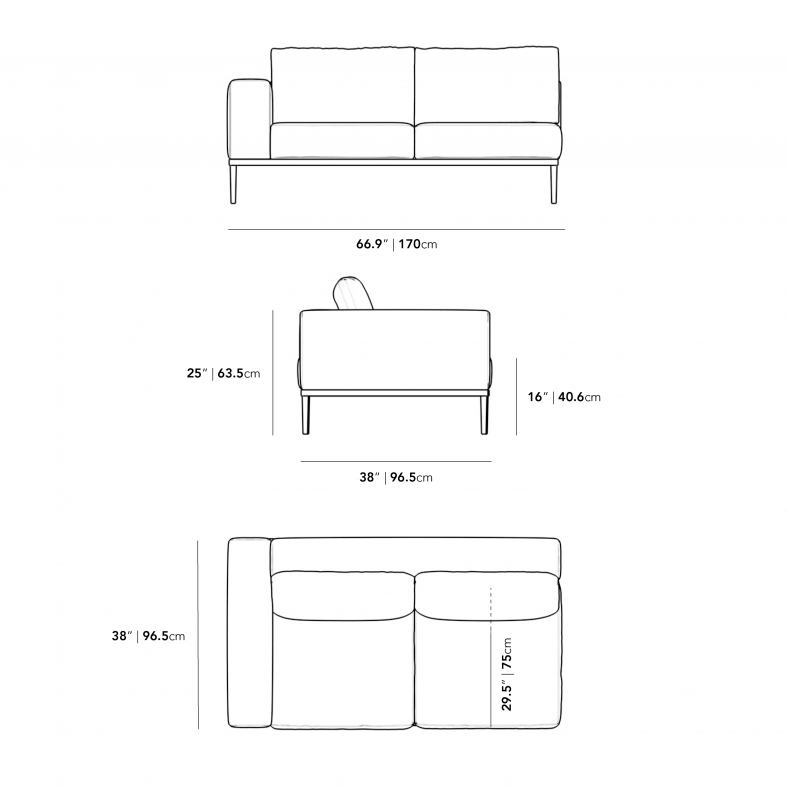 Dimensions for Francis Outdoor Left Arm 2 Seater