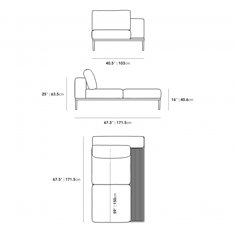 Dimensions for Francis Outdoor Right Chaise