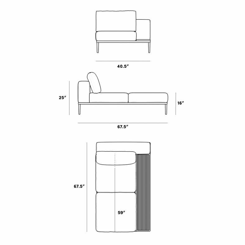 Dimensions for Francis Indoor Left Chaise