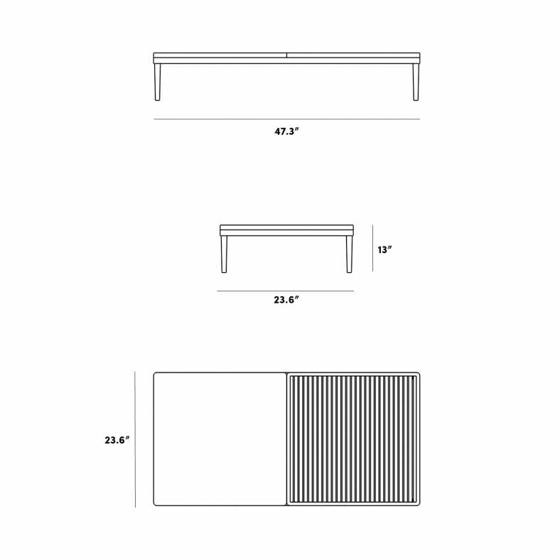 Dimensions for Francis Outdoor Coffee Table - Rectangle