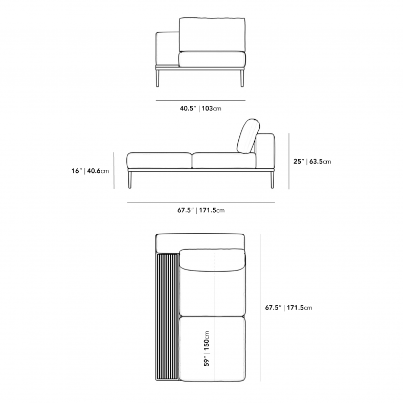 Dimensions for Francis Outdoor Left Chaise