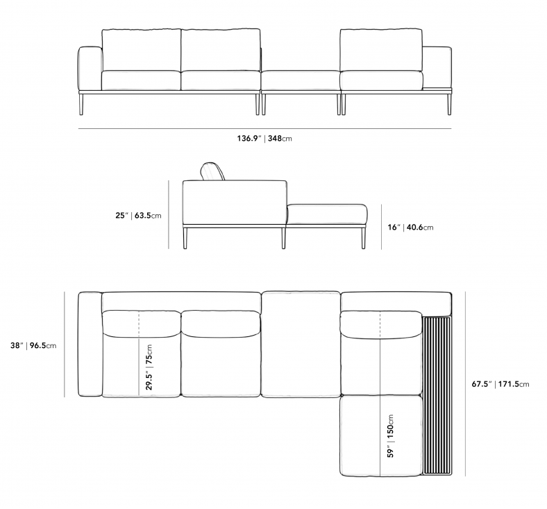 Dimensions for Francis Outdoor Modular Sectional