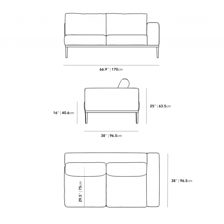 Dimensions for Francis Outdoor Right Arm 2 Seater