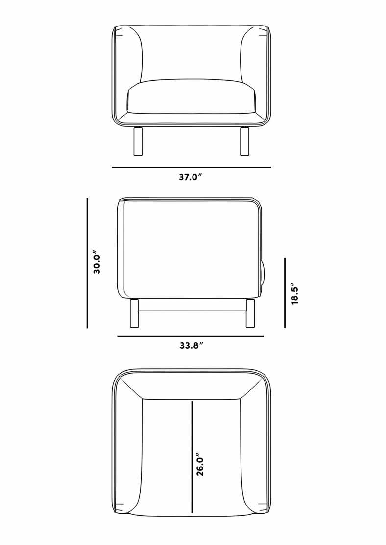 Dimensions for Frans Armchair